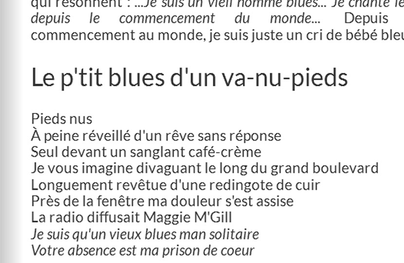 « Le p'tit blues d'un va-nu-pieds » – Richard Taillefer